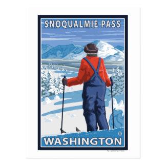 Admiração do esquiador - passagem de Snoqualmie, Cartão Postal