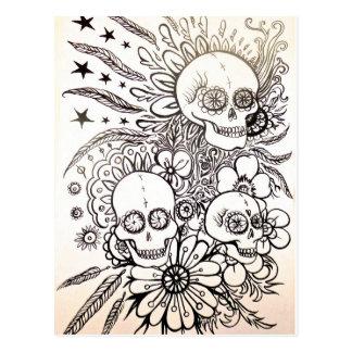 adoce o dia do crânio da arte inoperante do cartão