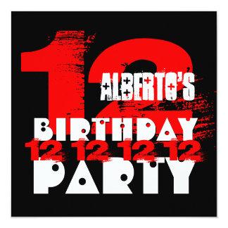Adolescente de 12 anos V03 da festa de aniversário Convite Quadrado 13.35 X 13.35cm
