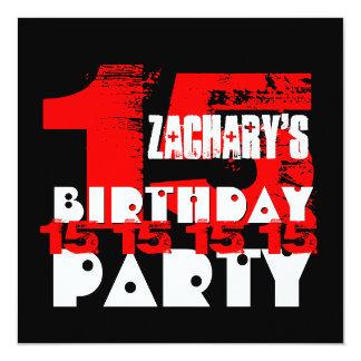 Adolescente de 15 anos V07 da festa de aniversário Convite Quadrado 13.35 X 13.35cm