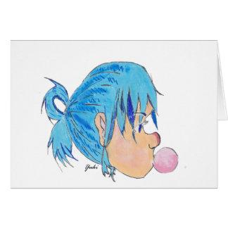 Adolescente fundindo uma bolha com goma cartão comemorativo
