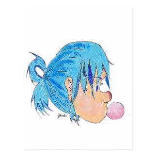 Adolescente fundindo uma bolha com goma cartão postal