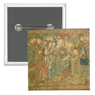 Adoração da criança do cristo (tapeçaria) bóton quadrado 5.08cm