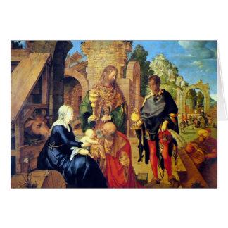 Adoração do cartão de Natal dos Magi