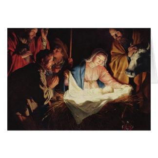 Adoração do cartão de Natal dos pastores