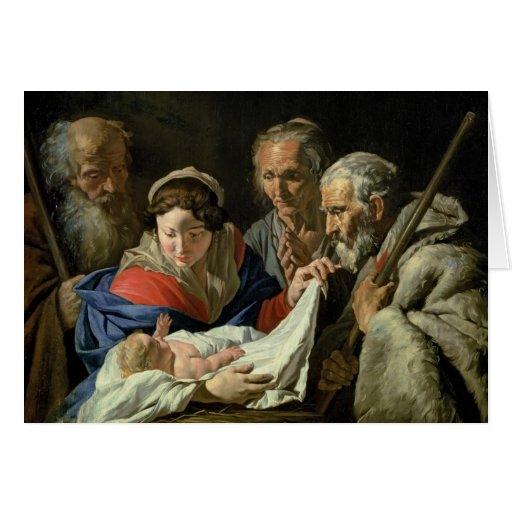 Adoração do Jesus infantil Cartoes
