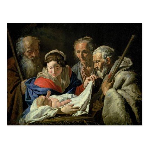 Adoração do Jesus infantil Cartões Postais