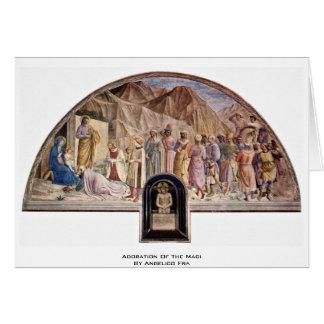 Adoração dos Magi por Angelico Fra Cartão