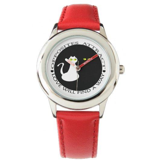 Adorável feminino dos gatos legal vermelhos super relógio de pulso