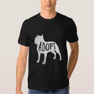 Adote a camisa da silhueta do pitbull (branca) t-shirts