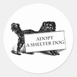 Adote um cão do abrigo adesivos em formato redondos