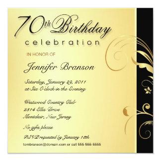 adulto do aniversário do 70 - o ouro elegante convite quadrado 13.35 x 13.35cm