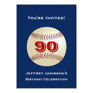 adulto do basebol do convite de aniversário do 90