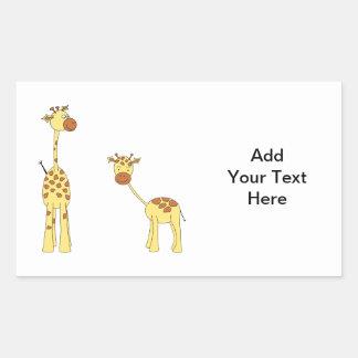 Adulto e girafa do bebê. Desenhos animados Adesivo Retangular