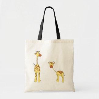 Adulto e girafa do bebê. Desenhos animados Bolsa Para Compras