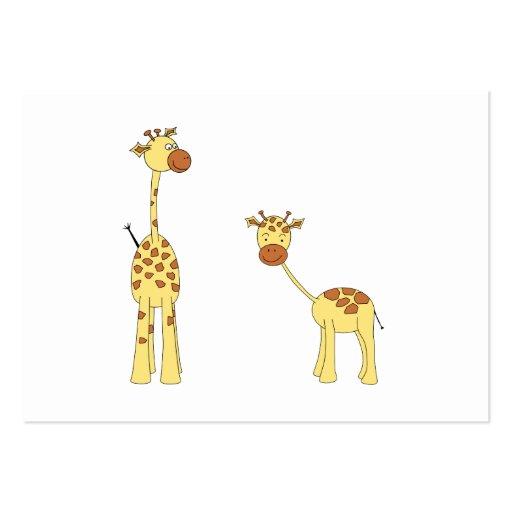 Adulto e girafa do bebê. Desenhos animados Modelo Cartoes De Visitas