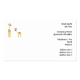 Adulto e girafa do bebê Desenhos animados Modelos Cartao De Visita