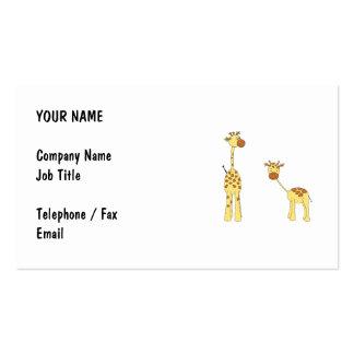 Adulto e girafa do bebê. Desenhos animados Cartoes De Visita