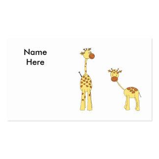 Adulto e girafa do bebê Desenhos animados Cartões De Visita