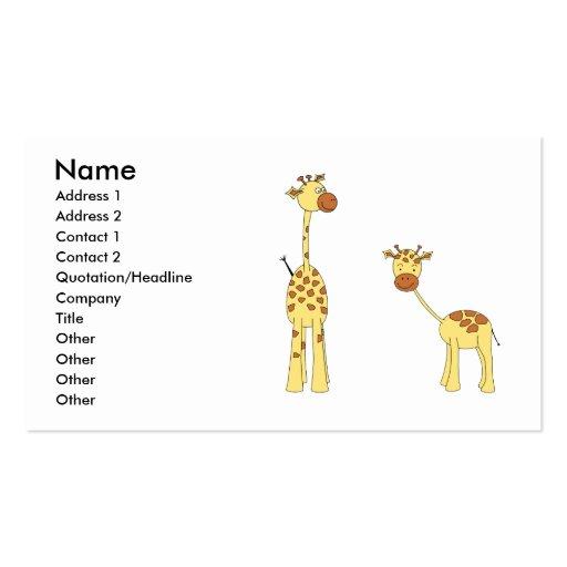 Adulto e girafa do bebê. Desenhos animados Cartoes De Visitas