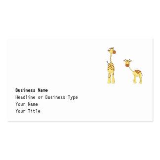 Adulto e girafa do bebê. Desenhos animados Cartão De Visita