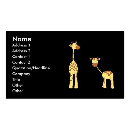 Adulto e girafa do bebê. Desenhos animados Cartao De Visita