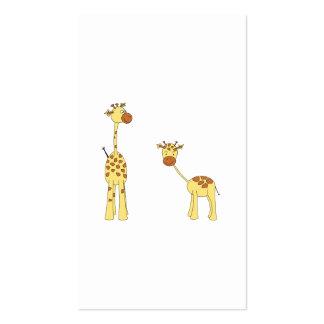 Adulto e girafa do bebê. Desenhos animados Modelos Cartoes De Visita