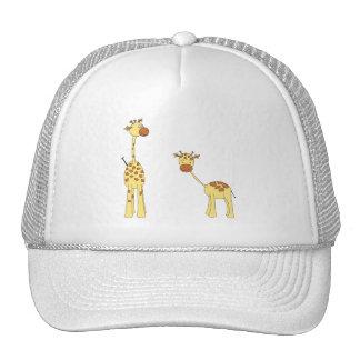 Adulto e girafa do bebê. Desenhos animados Bone