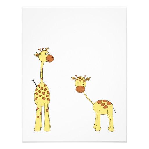 Adulto e girafa do bebê. Desenhos animados Convite Personalizado