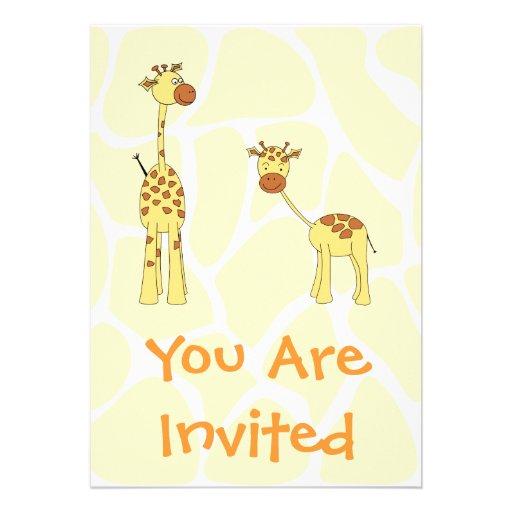 Adulto e girafa do bebê. Desenhos animados Convite Personalizados