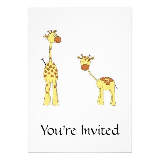 Adulto e girafa do bebê. Desenhos animados Convite