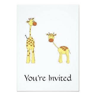 Adulto e girafa do bebê. Desenhos animados Convite 12.7 X 17.78cm