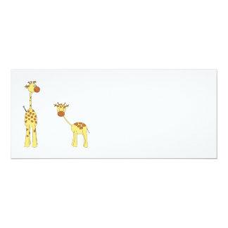 Adulto e girafa do bebê. Desenhos animados Convite 10.16 X 23.49cm