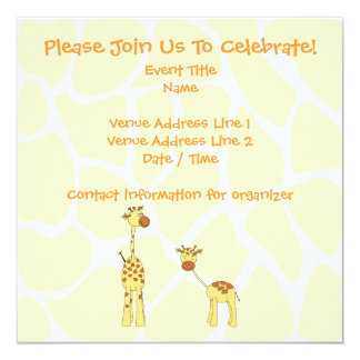 Adulto e girafa do bebê. Desenhos animados Convite Quadrado 13.35 X 13.35cm