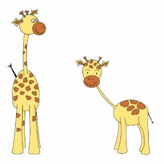 Adulto e girafa do bebê. Desenhos animados Escultura De Foto
