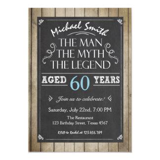 Adulto rústico do quadro do convite do aniversário
