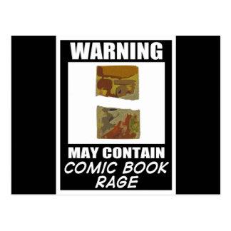 Advertir pode conter a raiva da banda desenhada cartão postal