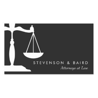 Advogado da escala de justiça preto e branco cartão de visita