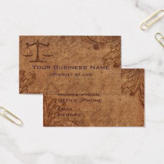 Advogado de couro gravado na lei cartão de visitas