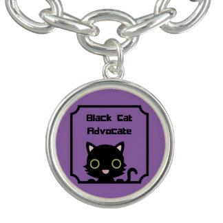 Advogado do gato preto braceletes com pingente
