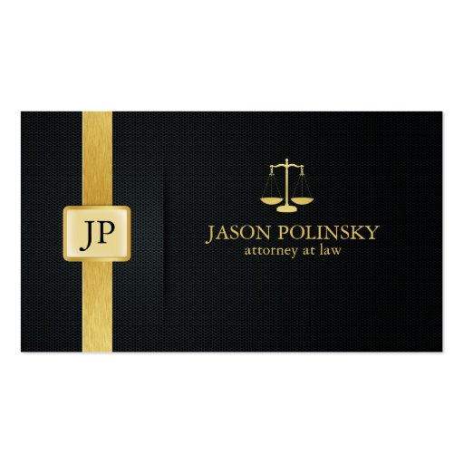Advogado elegante do preto e do ouro na lei modelo cartão de visita