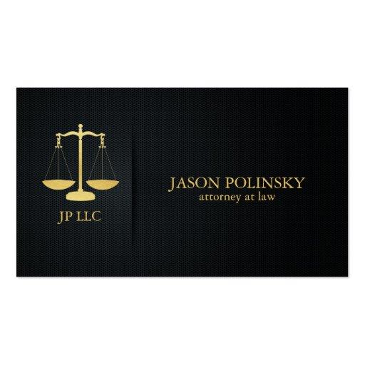 Advogado elegante do preto e do ouro na lei modelo cartoes de visitas