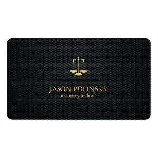 Advogado elegante do preto e do ouro na lei cartão de visita