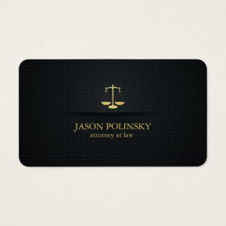 Advogado elegante do preto e do ouro na lei cartão de visitas