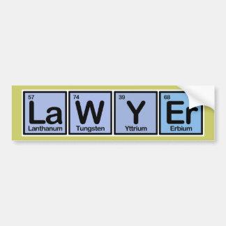 Advogado feito dos elementos adesivo para carro