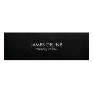 Advogado liso minimalista do preto da textura cartão de visita skinny
