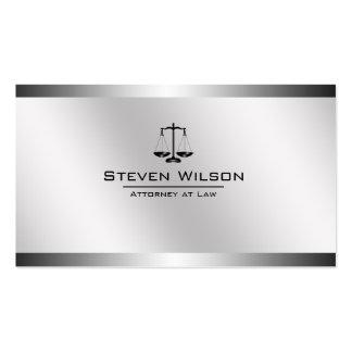 Advogado na escala legal de aço branca e de prata cartão de visita