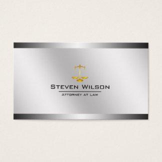 Advogado na escala legal de aço branca e de prata cartão de visitas
