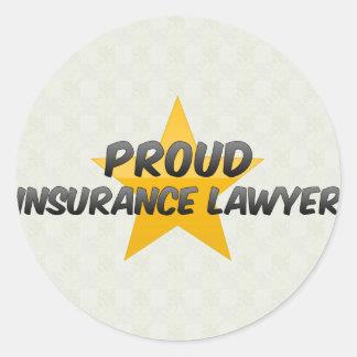 Advogado orgulhoso do seguro adesivo em formato redondo
