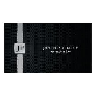Advogado preto e de prata elegante na lei cartão de visita